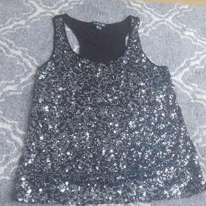 5/$25 forever 21 tank top sequin black silver